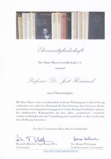 Urkunde für Jost Hermand